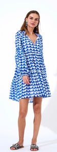 Moby Blue Balloon Sleeve Dress By Oliphant