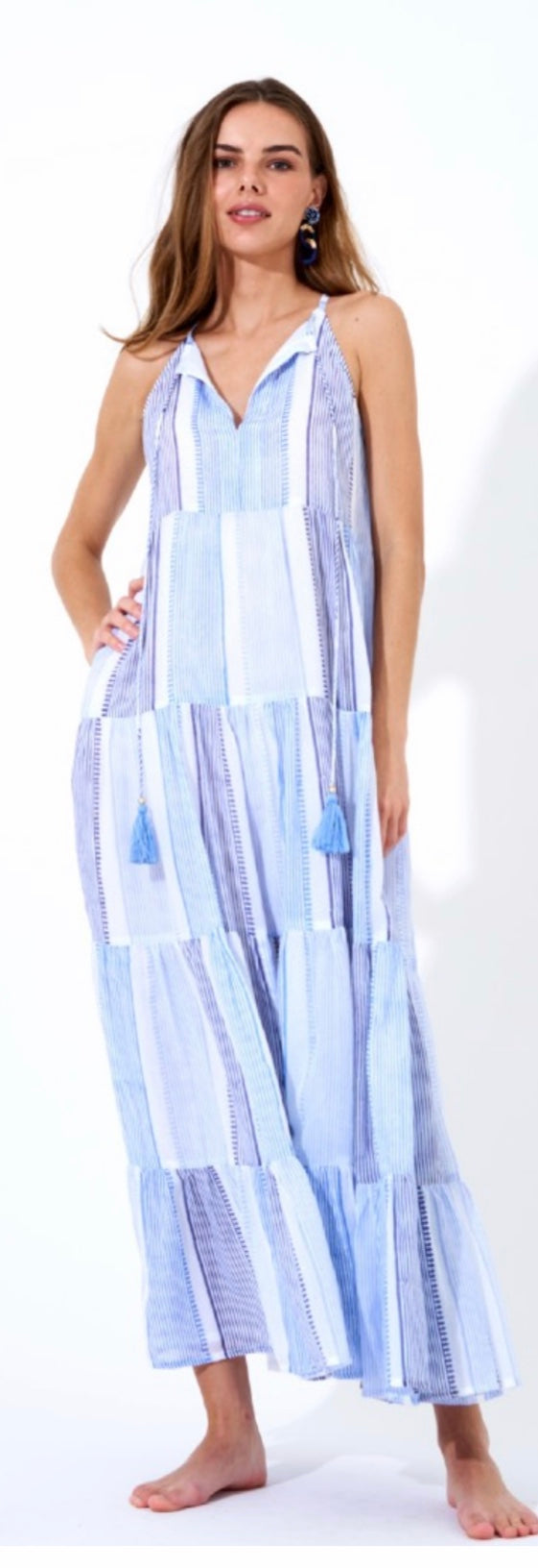 Camden Blue Long Tiered Tassle Dress By Oliphant