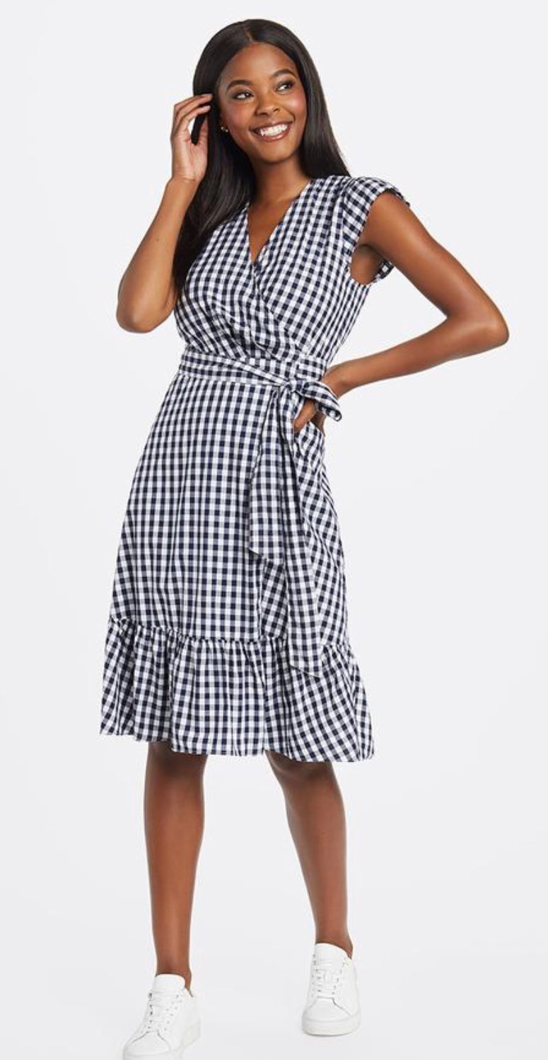 Gingham Flutter Wrap Dress By Draper James