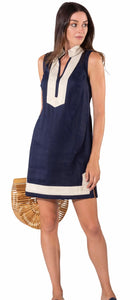 Sleeveless Classic Navy/Gold Tunic Dress Navy By Sail to Sable