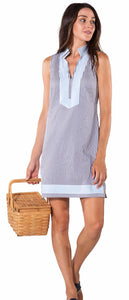 Stripe Shirting Sleeveless Classic Tunic Dress By Sail to Sable