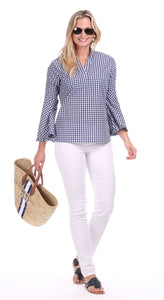 Gingham Bell Sleeve Top By Duffield Lane