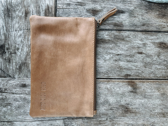 Large ORE. Leather Clutch - Brown