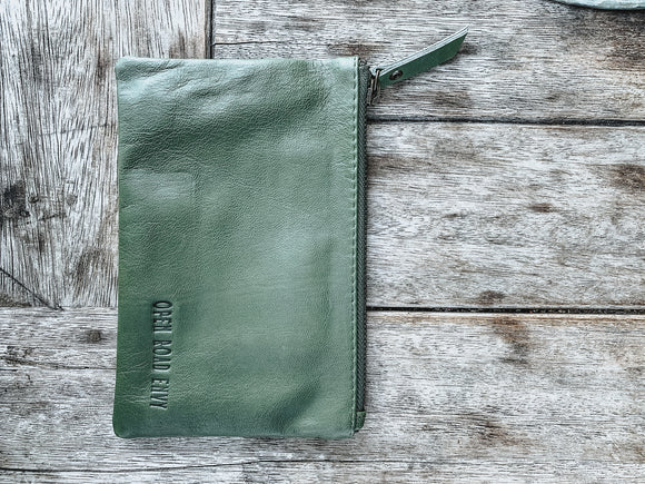 Large ORE. Leather Clutch - Olive