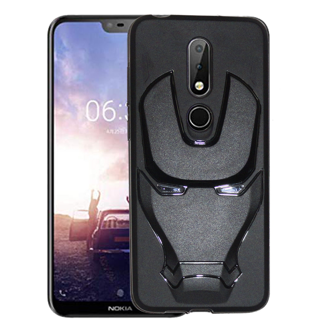 new product a4ef8 9dcd3 Nokia 6.1 Plus Back Cover 3D Iron Man Design (Black)