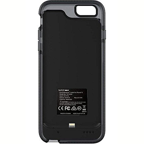 buy online d255e 22425 Tech21 Evo Endurance 1800mAh Ultra Slim Lithium Ceramic Battery Portable  Charger Case for Apple iPhone 6/6S (Smoky / Black)
