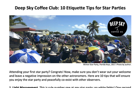 Deep Sky Coffee Club:  10 Etiquette Tips for Star Parties