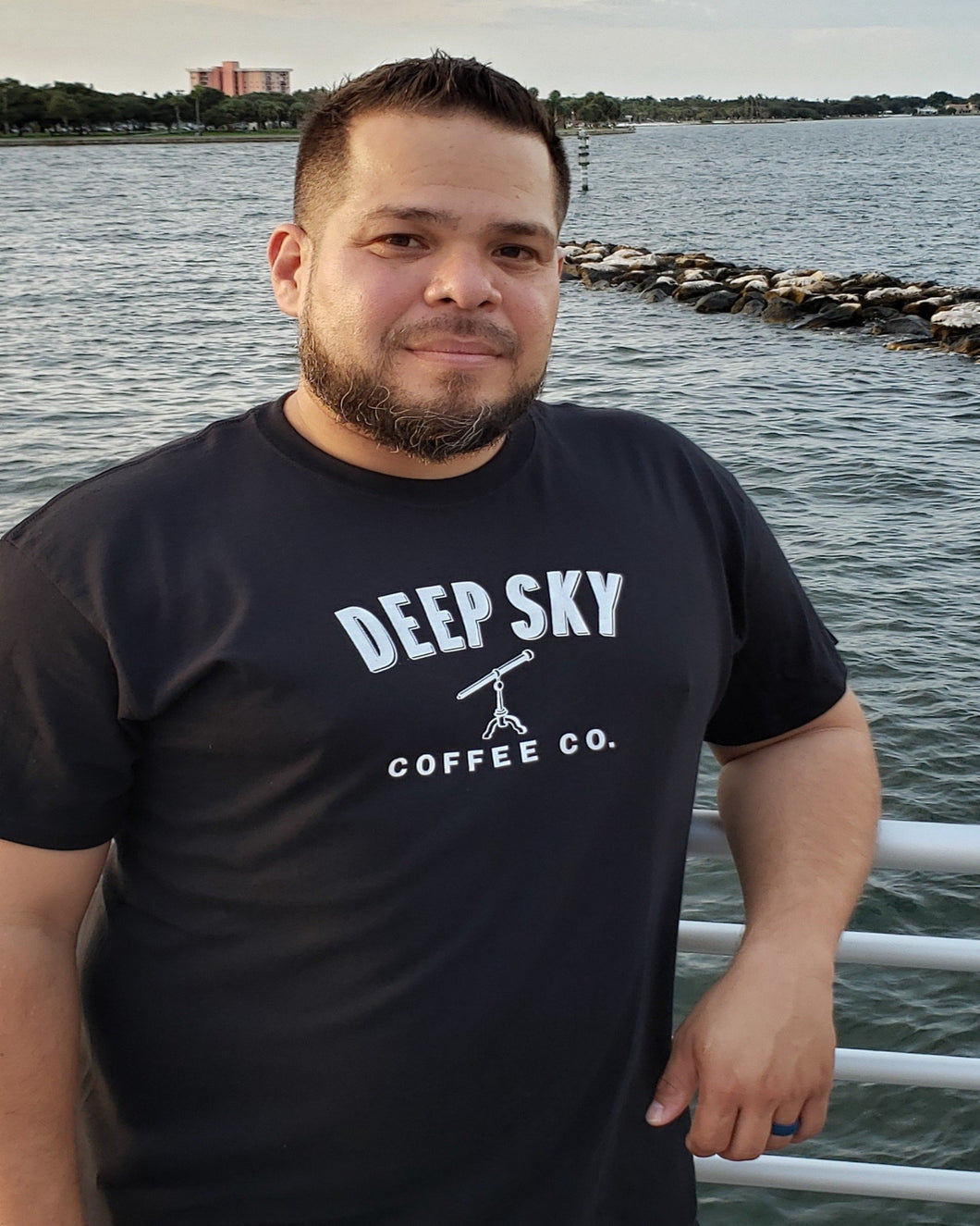 Small Logo Deep Sky Coffee Cotton T-Shirt