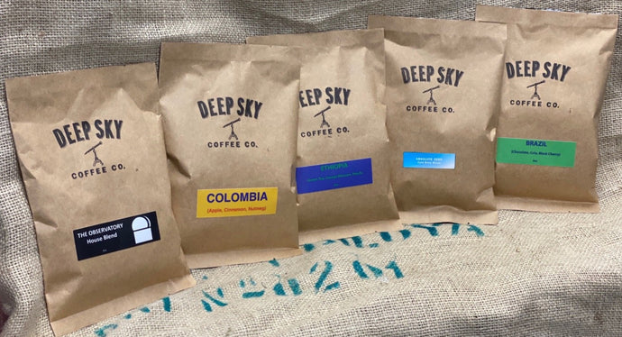 Deep Sky Coffee Sample Packs! Choose from individual, Origin Sampler, Blends Sampler, or all 5!  Prices start at $5.  Tampa, Florida - www.deepskycoffee.com