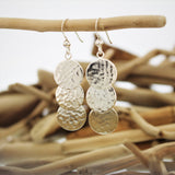 Silver Hammered Disc Hook Earrings