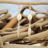 Silver Feather and Pearl Hook  Earrings