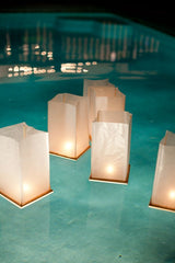 Floating Lanterns Poolside Wedding at Home