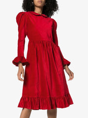 Batsheva Red Velvet Peter Pan Collar Holiday Dress