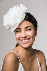 Feather Flower Bridal Headpiece by Genevieve Rose Atelier
