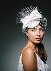 Genevieve Rose Atelier Birdcage Veil Fascinator with Bows for City Hall Wedding