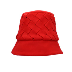 Hanna Red Wool Woven Bucket Hat by Genevieve Rose Atelier