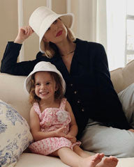 Kerry Pieri and Lila in Matching White Hats by Genevieve Rose Atelier