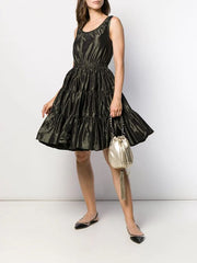 Miu Miu Tiered Short Black Dress