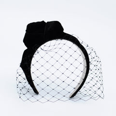 Genevieve Rose Atelier Black Velvet Holiday Headband with Veil