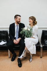 Silver Bridal Ankle Boots
