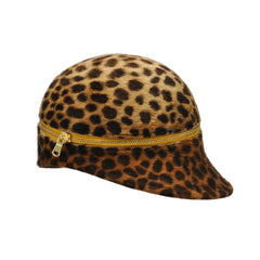 Zenobia Leopard Cap with Yellow Zipper by Genevieve Rose Atelier