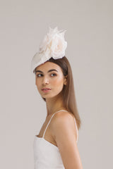 Genevieve Rose Atelier Fascinator with Silk Roses for Courthouse Wedding
