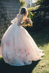 Pink Floral Wedding Dress for a Garden Wedding