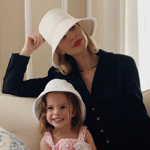 Kerry Pieri and Daughter Matching White  Hat by Genevieve Rose Atelier