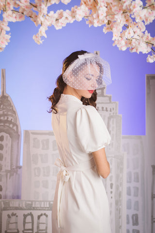 Alice Polka Dot Short Tulle Veil by Genevieve Rose Atelier