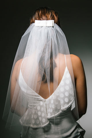 Elbow Length Tulle Veil with Silk Bow by Genevieve Rose Atelier