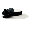 Avebury Large White Derby Boater with Black Rose by Genevieve Rose Atelier