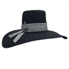 Bellerive Black Hat with Gingham Ribbon by Genevieve Rose Atelier