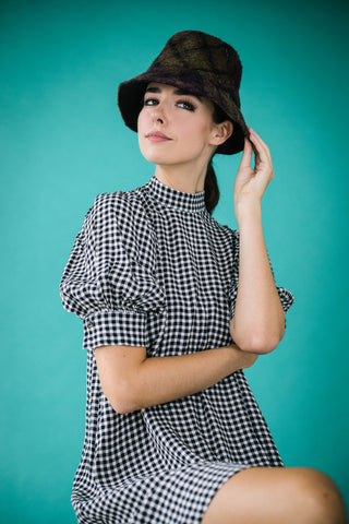Benedetta Plaid Wool Packable Bucket Hat by Genevieve Rose Atelier
