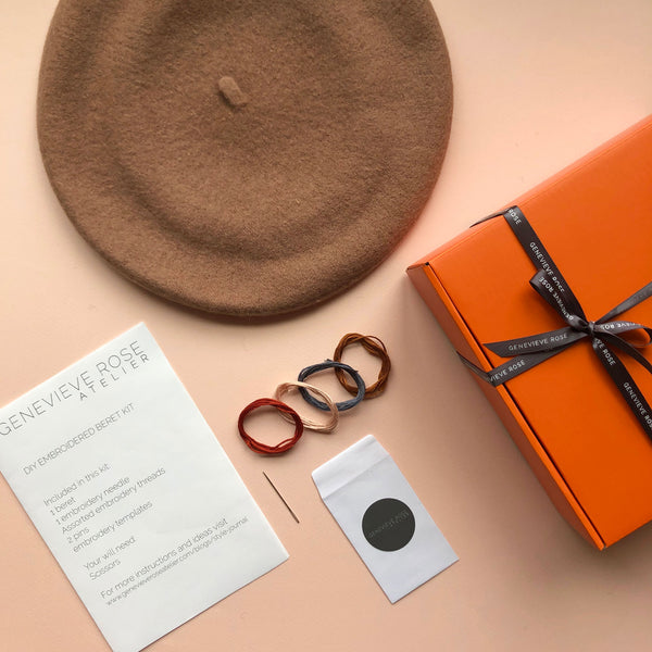 DIY Embroidered Beret Gift Kit by Genevieve Rose Atelier