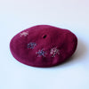 DIY Embroidered Burgundy Beret Kit by Genevieve Rose Atelier