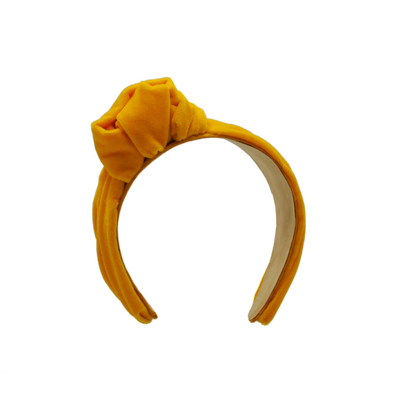 Yellow Velvet Turban Headband by Genevieve Rose Atelier