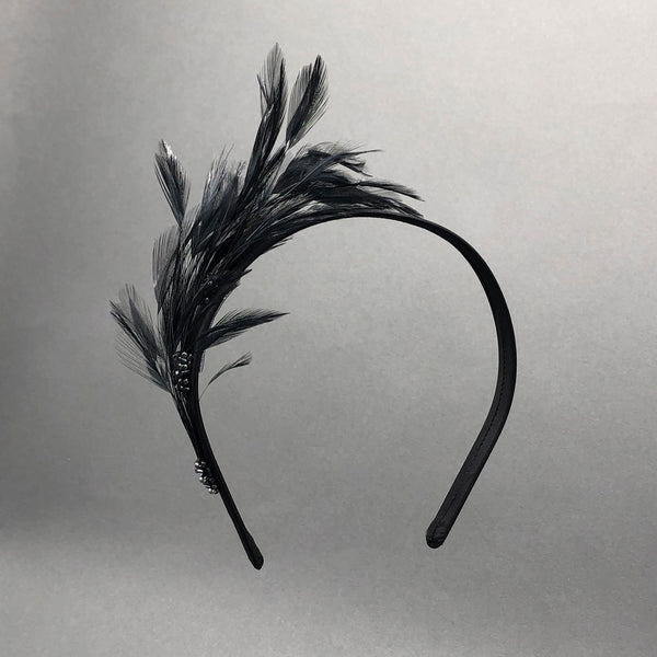 Black Camille Feather Holiday Headband by Genevieve Rose Atelier