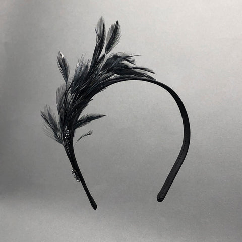 Black Camille Feather Valentine's Headband by Genevieve Rose Atelier