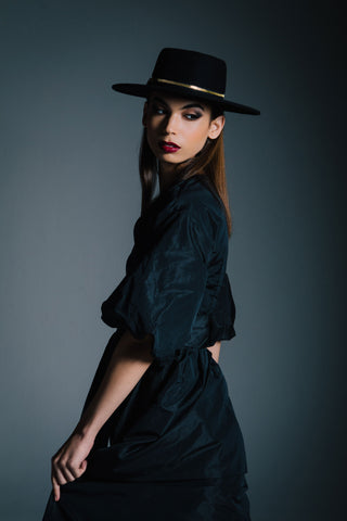 Black Felt Gaucho Zip by Genevieve Rose Atelier