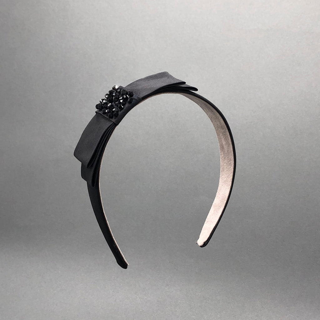Ann Black Silk Holiday Headband with Bow by Genevieve Rose Atelier