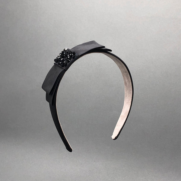 Ann Black Silk Valentine's Headband with Bow by Genevieve Rose Atelier