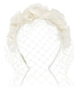 Bridal Birdcage Veil Headband with Silk Flower Crown by Genevieve Rose Bridal