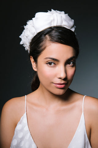 Brigitte Pillbox Hat with Applique Petals and Bow by Genevieve Rose Atelier