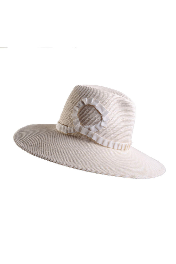 Broome Large White Packable Sun Hat with Pleated Ribbon by Genevieve Rose Atelier