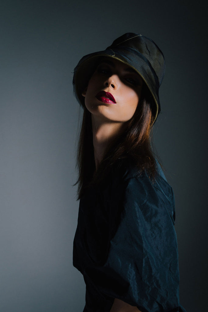 Felt Bucket Hat with Organza Overlay by Genevieve Rose Atelier