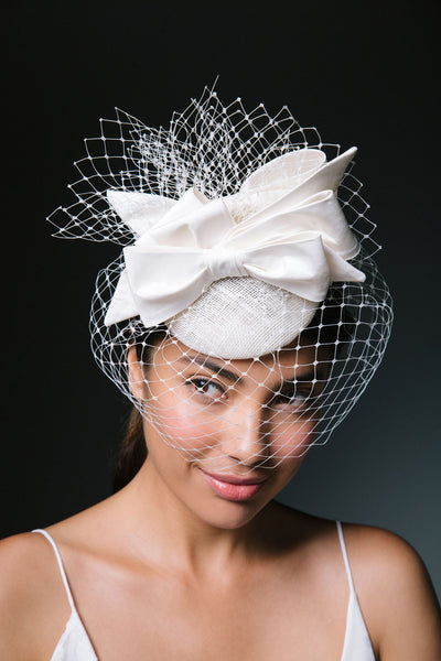 3d4e6d099f24a Charlotte Birdcage Veil Fascinator with Bows by Genevieve Rose Atelier