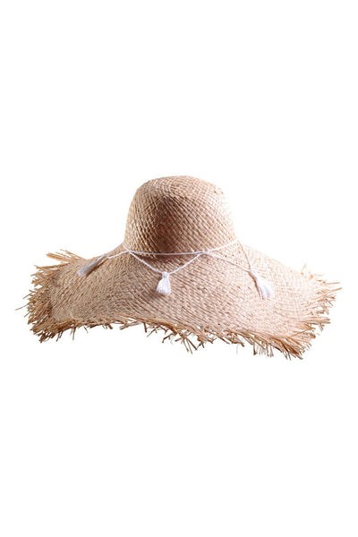 Frayed Raffia Sun Hat with Tassels by Genevieve Rose Atelier