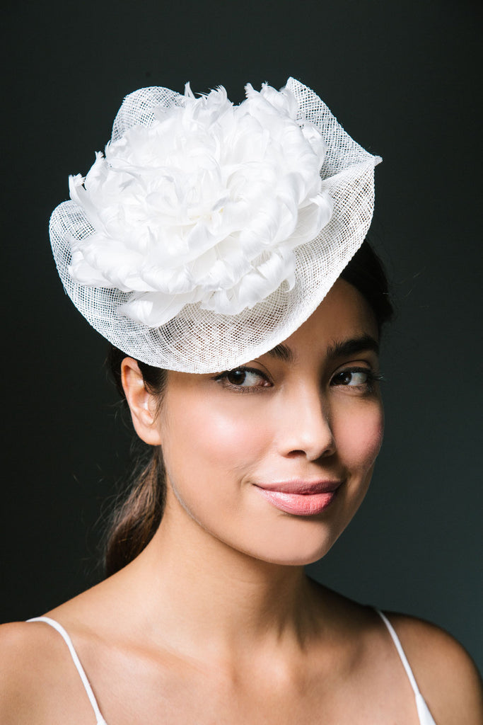 Constance Straw Fascinator with Feather Flower by Genevieve Rose Atelier