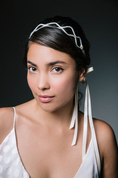 Bridal Pearl Headband with Ribbon Ties by Genevieve Rose Atelier