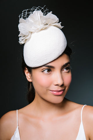 White Bridal Beret with Silk Flowers by Genevieve Rose Atelier